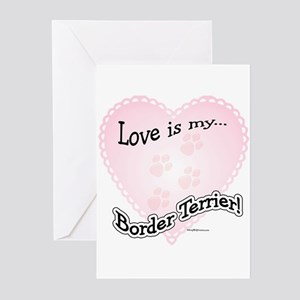 Love is my Border Terrier Greeting Cards (Package