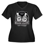 Beaver Liquors Women's Plus Size V-Neck Dark T-Shi