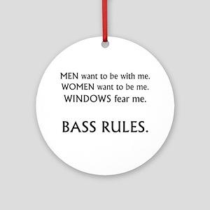bass rules black text female version Ornament (Rou