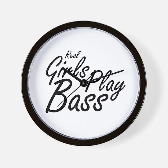 real girls play bass black Wall Clock