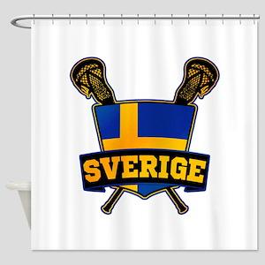 Sweden Sverige Lacrosse Logo Shower Curtain