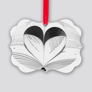 Cute Love of Books Picture Ornament