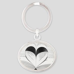 Cute Love of Books Oval Keychain