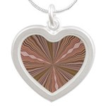 Earth Tone Starburst Silver Heart Necklace