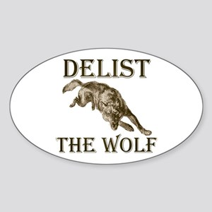 DELIST THE WOLF Oval Sticker
