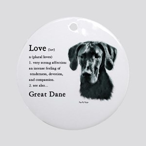 Black Great Dane Ornament (Round)