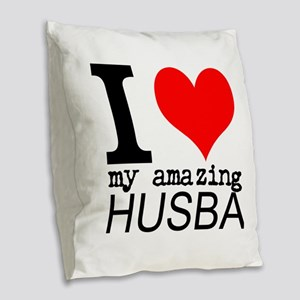 I heart my Amazing Husband Burlap Throw Pillow