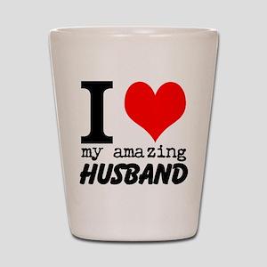 I heart my Amazing Husband Shot Glass