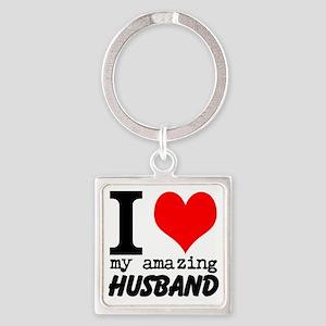 I heart my Amazing Husband Square Keychain