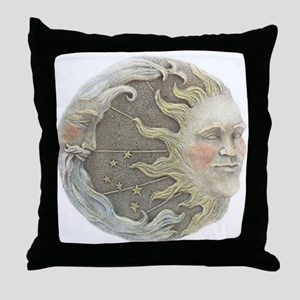Cosmic Sun and Moon Throw Pillow