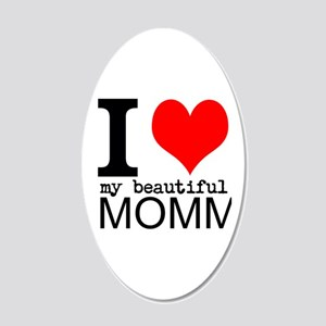I Heart My Beautiful Mommy 20x12 Oval Wall Decal