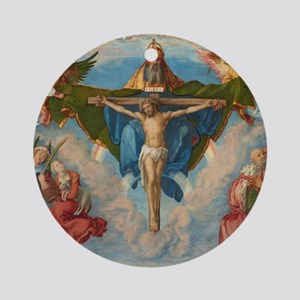 Adoration of the Trinity by Albrech Round Ornament
