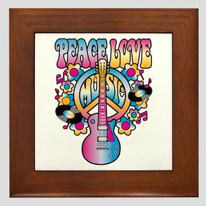 Peace Love & Music Framed Tile