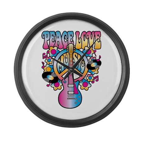 Peace Love & Music Large Wall Clock