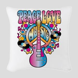 Peace Love & Music Woven Throw Pillow
