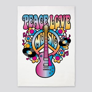 Peace Love & Music 5'x7'Area Rug