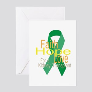 Faith,Hope,love For a Kidney Transplant Ribbon Gre