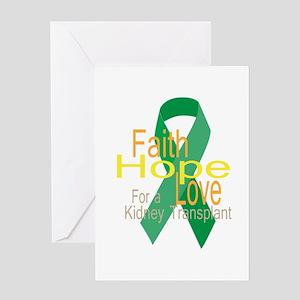 Organ transplant greeting cards cafepress faithhopelove for a kidney transplant ribbon gre m4hsunfo