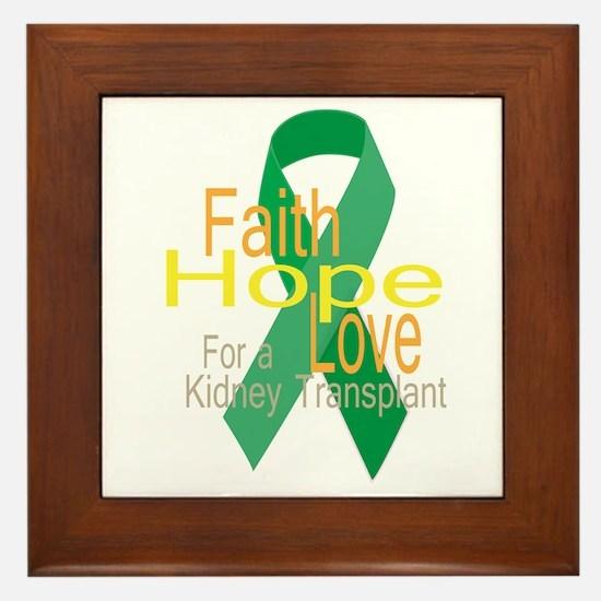 Faith,Hope,love For a Kidney Transplant Ribbon Fra