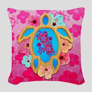 Hawaiian Tropical Honu Woven Throw Pillow