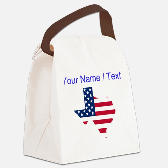 Custom Texas American Flag Canvas Lunch Bag