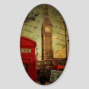 vintage London UK fashion  Sticker (Oval)