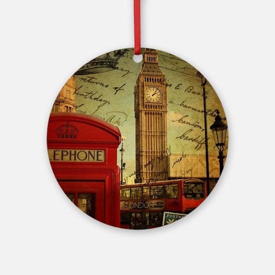 vintage London UK fashion  Round Ornament