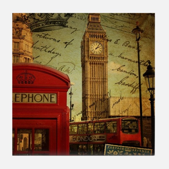 vintage London UK fashion  Tile Coaster