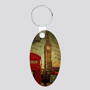 vintage London UK fashion  Aluminum Oval Keychain