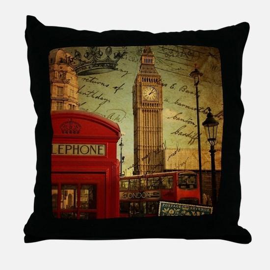 vintage London UK fashion  Throw Pillow