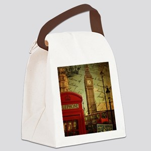 vintage London UK fashion  Canvas Lunch Bag