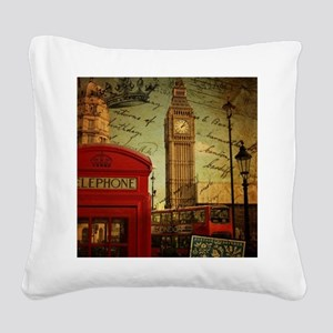 vintage London UK fashion  Square Canvas Pillow
