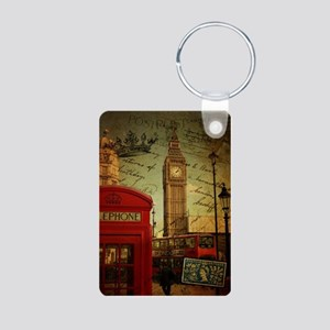 vintage London UK fashion  Aluminum Photo Keychain
