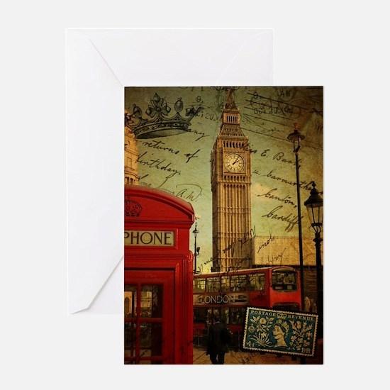 vintage London UK fashion  Greeting Card