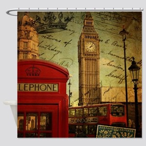 vintage London UK fashion  Shower Curtain