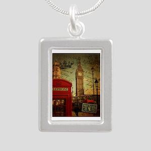 vintage London UK fashio Silver Portrait Necklace