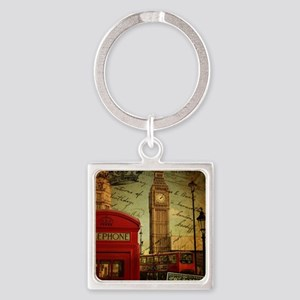 vintage London UK fashion  Square Keychain