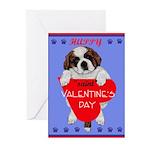 Valentine Saint Bernard Greeting Cards (Package of