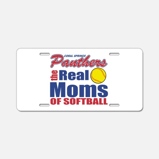 The real moms of softball Aluminum License Plate