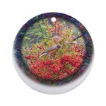 Robins with Berries Ornament (Round)