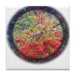 Robins with Berries Tile Coaster