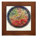 Robins with Berries Framed Tile
