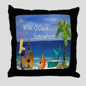 Wine OClock Mermaid Throw Pillow