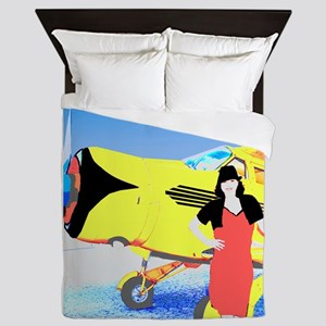 Woman and Vintage Airplane Queen Duvet
