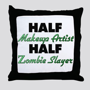 Half Makeup Artist Half Zombie Slayer Throw Pillow