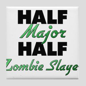 Half Major Half Zombie Slayer Tile Coaster