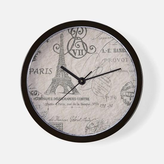 vintage paris eiffel tower scripts Wall Clock