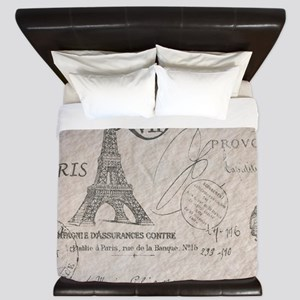 vintage paris eiffel tower scripts King Duvet