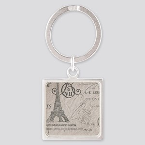 vintage paris eiffel tower scripts Square Keychain
