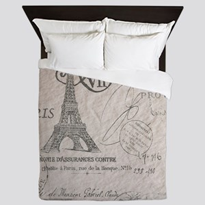vintage paris eiffel tower scripts Queen Duvet